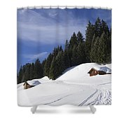 Winter Landscape With Trees And Houses In Austria Shower Curtain