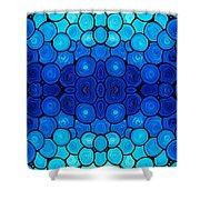 Winter Lights - Blue Mosaic Art By Sharon Cummings Shower Curtain