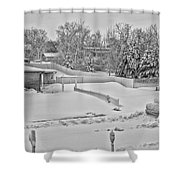 Winter Lines Black And White Shower Curtain