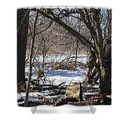Winter Log Shower Curtain