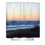 Winter Ludington Shore Shower Curtain
