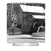 Winter Mill In Black And White Shower Curtain