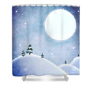 Winter Moon Over Snowy Landscape Shower Curtain