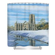 Winter Morning Fountains Abbey Yorkshire Shower Curtain by Richard Harpum