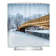 Winter Morning With Bow Bridge Shower Curtain