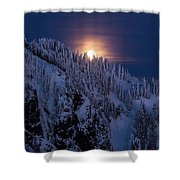 Winter Mountain Moonrise Shower Curtain