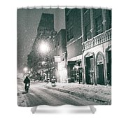 Winter Night - New York City - Lower East Side Shower Curtain