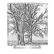 Winter Oaks IIi Shower Curtain