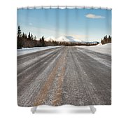 Winter On Country Road In Taiga And Snowy Mountain Shower Curtain