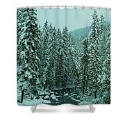 Winter On The American River Shower Curtain