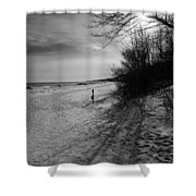 Winter On The Beach  Shower Curtain