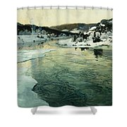 Winter On The Mesna River Near Lillehammer Shower Curtain by Fritz Thaulow