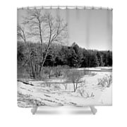 Winter On The Moose River Shower Curtain