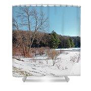 Winter On The Moose River - Old Forge New York Shower Curtain