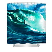 Winter Pacific Surf Shower Curtain