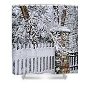 Winter Park Fence Shower Curtain by Elena Elisseeva