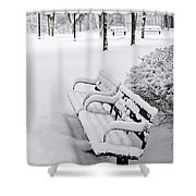 Winter Park With Benches Shower Curtain