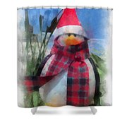 Winter Penguin Photo Art Shower Curtain