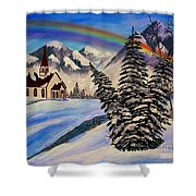 Winter Rainbow Shower Curtain