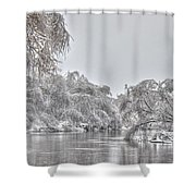 Winter River Scene Shower Curtain