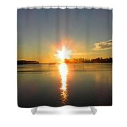 Winter River Sunrise Shower Curtain