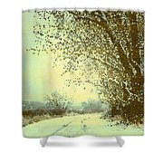 Winter Road Abstract  Shower Curtain