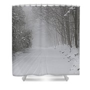 Winter Road During Snow Storm Shower Curtain