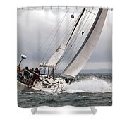 Winter Sailing In British Columbia Shower Curtain