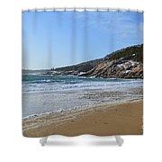 Winter Sand Beach Acadia Shower Curtain
