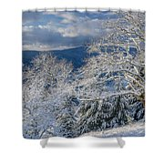 Winter Scene At Berry Summit Shower Curtain