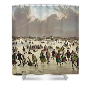 Winter Scene Circa 1859 Shower Curtain by Aged Pixel