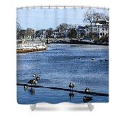 Winter Scene Jersey Shore Town Shower Curtain