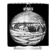 Winter Scene Ornament Shower Curtain