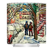 Winter Scene Painting Rows Of Snow Covered Cars First School Day After Christmas Break Montreal Art Shower Curtain