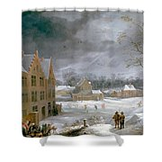 Winter Scene With A Man Killing A Pig Shower Curtain