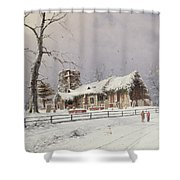 Winter Scene With Figures On A Path Near A Church Shower Curtain