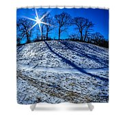 Winter Scinery In The Mountains With Bllue Sky And Sunshine Shower Curtain