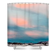 Winter Sky Over Lake Laberge Shower Curtain