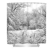 Winter Snow At Huron River Shower Curtain