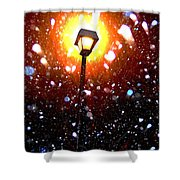 Winter Snow Storm At Night Shower Curtain