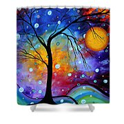 Winter Sparkle Original Madart Painting Shower Curtain by Megan Duncanson