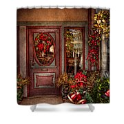 Winter - Store - Metuchen Nj - Dressed For The Holidays Shower Curtain by Mike Savad
