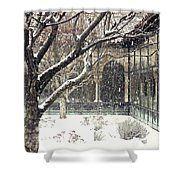 Winter Storm At The Cloisters 3 Shower Curtain