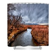 Winter Storm Over Owens River Shower Curtain