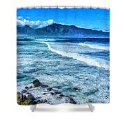 Winter Storm Surf At Ho'okipa Maui Shower Curtain