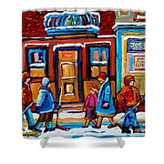 Winter Street In Saint Henri Shower Curtain