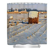 Winter Stubble Bales Shower Curtain