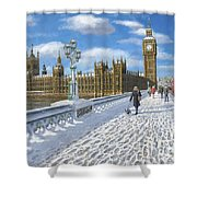 Winter Sun - Houses Of Parliament London Shower Curtain