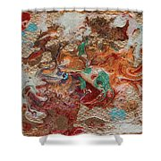 Winter Sunrise Abstract Painting Shower Curtain