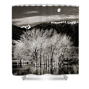 Winter Sunrise And Moonset Shower Curtain